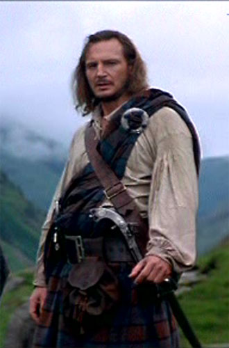 Movie costumes through time in Rob Roy, at Pirates Cave   330 x 500 jpeg 32kB